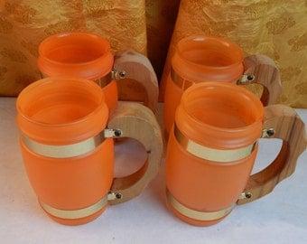 SiestaWare - Orange Glasses Set of 4 -  Wood Handled Ranchware Mugs
