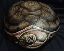 Stone painting/Garden art Rock/Hand Painted Tortoise/Turtle stone/Turtle painting/Yard art /Home decor/door stop/book end/great gift on etsy