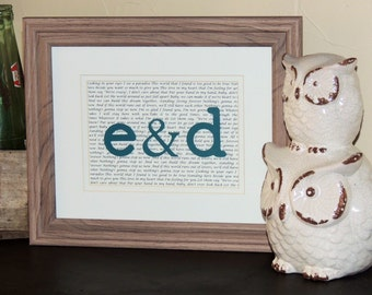 First Anniversary Gift, Wedding Gift, Paper and 1st Anniversary Gift - Song Lyrics with initials - 8x10 Framed