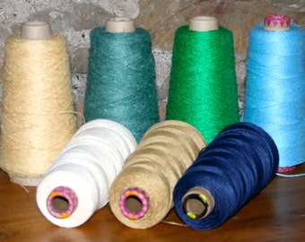200 gm cones of PURE LINEN YARN -  White, Vanilla and Gold - for weaving, warp & weft, knitting, crochet, macrame