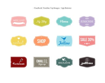 INSTANT DOWNLOAD - Facebook Timeline Tab Images/App Buttons - A58