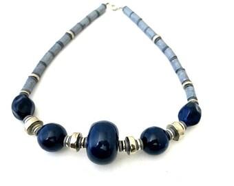 Blue Bead Necklace Bold Design