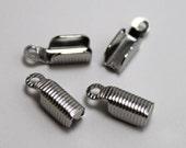 100 pcs. Silver Cord Crimp End. Necklace Crimp ends. Necklace Crimp beads. Crimp End W/Loop.  10x4mm.  Cord Crimp End.  Cord Crimp end bead.