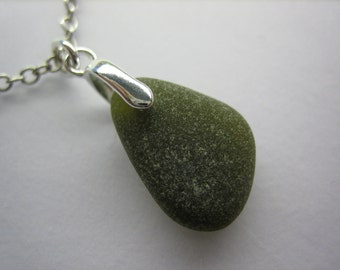 GENUINE SEA GLASS Necklace Sterling Silver Flawless Dark Amber Gem Real Surf Tumbled Natural Greek Beach Seaglass Pendant Jewelry  N 562g