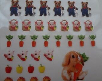 Japan Qlia photorip kawaii FARM ANIMALS sticker sheet/71552