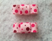 """2 Girls Pink Velcro Boutique Hair Bow Small Mini Clip 1"""" Tie Bow Ready to Ship"""