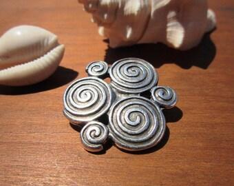 20mm Spiral slider bead, silver beads, bracelet sliders, bracelet findings, jewelry sliders, focal pieces, flat leather sliders