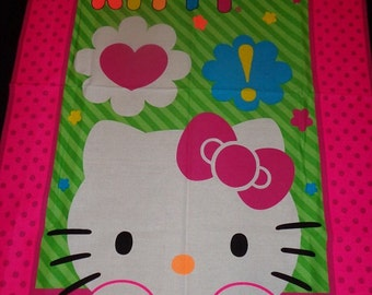 Hello Kitty Pink/Neon Green  Fabric by the Panel