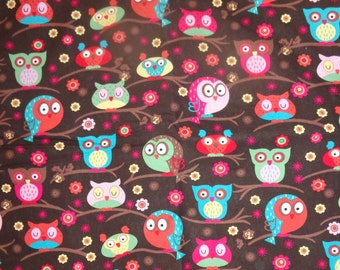 Brown Girly Owls in Trees  Fabric by the Yard