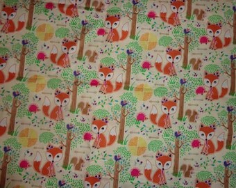 40 x 32 Inches Girly Fox/Possum/Squirrel Cotton Fabric Remnant