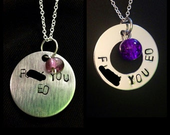 F--k You ED: Eating Disorder Recovery Hand-Stamped Washer or Disc Necklace/Keychain