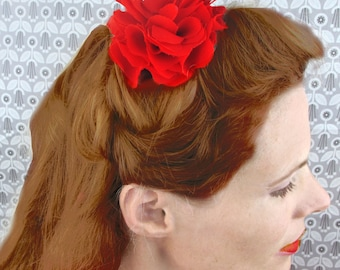 Red Begonia Flower Hair Clip