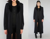 Vtg 90s Black Faux Fur Grunge Club Kids Minimal Duster Jacket M L