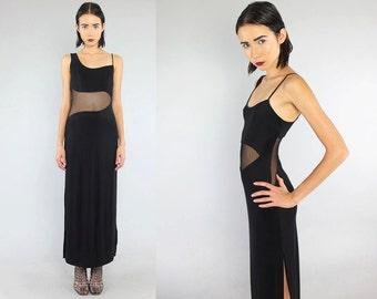 Vtg 90s Black Mesh Cut Out Bandage Bodycon Futuristic Maxi Dress S M