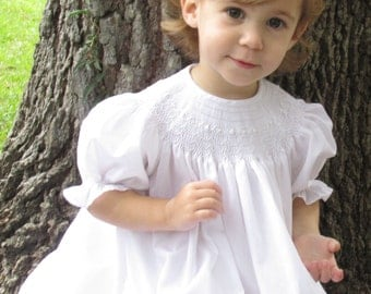White hand smocked bishop, perfect for Baptism, Wedding, dressy occasion.