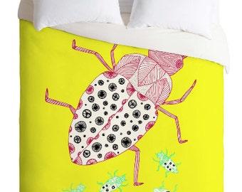 Roach Duvet Cover / Twin, King Queen Size Duvet / Bugs Blanket / Bugs Duvet / Kids Room Blanket / Birds Bedding / Boys Duvet