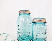 vintage blue PINT traveling mason jar tumbler...complete with glass straw {FREE SHIPPING!!!}