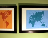 "Unframed Hemispheres Screen Prints (pair) 30""x20"" & 12""x20"""