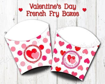 Valentine's Day French Fry Boxes - Instant Download