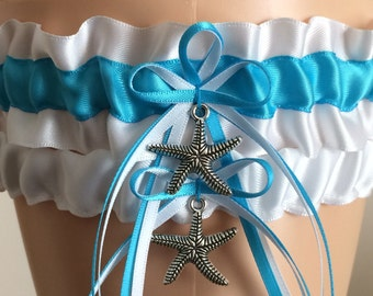 White and Turquoise Wedding Garter Set, Bridal Garter Set, Keepsake Garter, Prom Garter, Wedding Accessories, Weddings