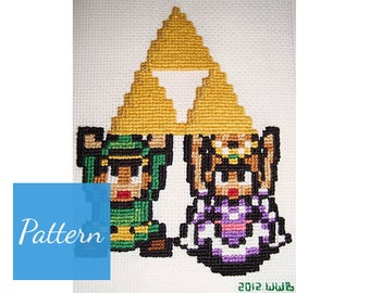 Link & Zelda (Legend of Zelda) Cross Stitch Pattern