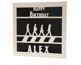 Personalised paper cut Beatles Birthday Card