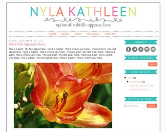 Blogger Template Premade Blog Design Theme - Nyla Kathleen - INSTALLATION INCLUDED - Rainbow, Responsive, Teacher Blog, Simple, Colorful