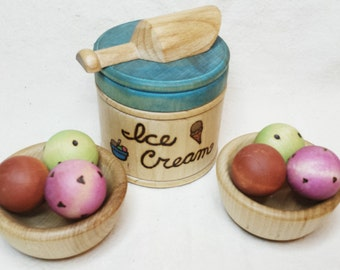 Simple Gifts Original Design Wooden Ice Cream // Wooden Kitchen Toy // Ice Cream Play Set // Toy Ice Cream // Waldorf Toy