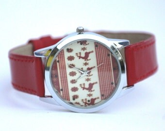 Red Christmas gift reindeer pattern leather women watch