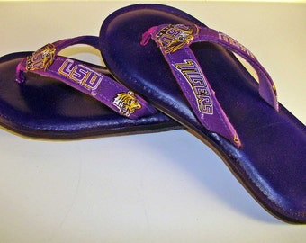 Game Day Flip Flops for Women Lady LSU Tigers
