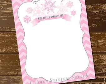 Snowflake Thank You Cards, Pink, Little Girls, Baby,