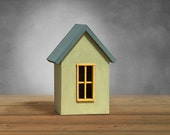Decor small house - little wooden house in green and blue mik paint miniature architecture