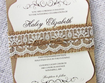 Burlap Lace Wedding Invitation, Rustic Lace Wedding Invitation, Country Wedding, Burlap invitation, Lace wedding invitation