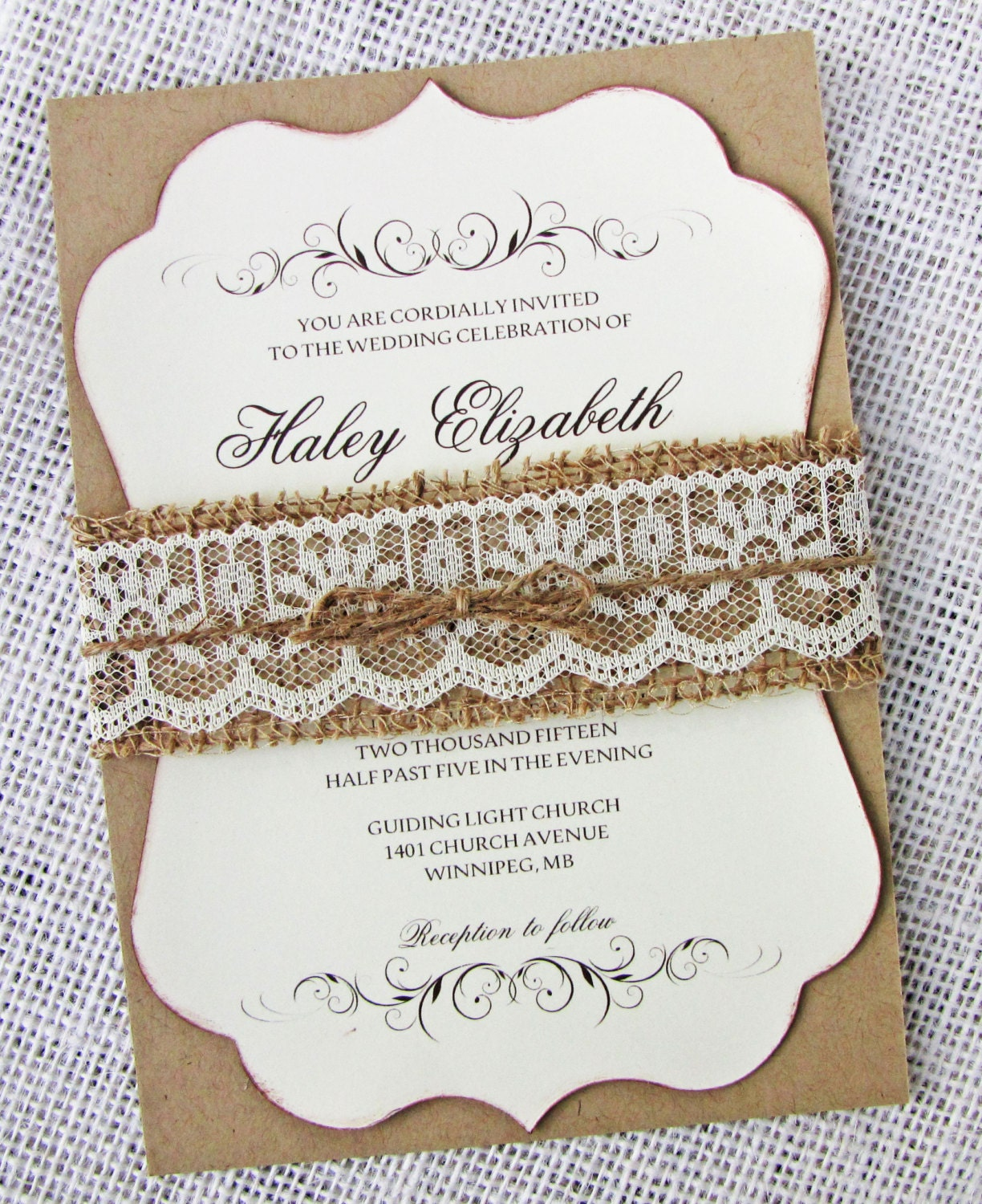 country wedding burlap invitation zoom