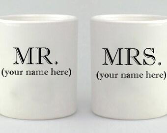 Mr. Mrs., Mug Gift Set, Valentines, Wedding Gift, Coffee Mug Set, Coffee Cup, Couples Gift,  Mug, Mugs