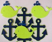 12 Lime and Navy Whale and Anchor Nautical Cupcake Toppers, for birthday, baby shower