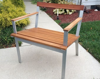 Mid Century Modern Aluminum /Wood Arm Chair