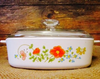 Vintage Corning Ware Wild Flower 1 Quart Casserole Dish