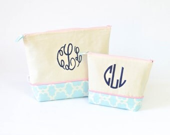 Medium and Large Set of Monogrammed Cosmetics bags- Aqua Flowers #22 and Light Pink and Navy