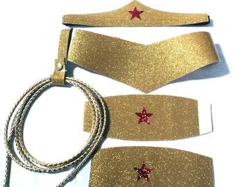 Wonder Woman Costume Accessory Set Choose Size Tiara, Cuffs, Lasso, Belt