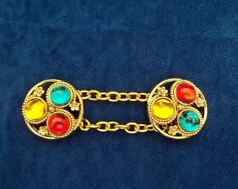 New Custom Cape Cloak Chain Closure Clasp Medieval Renaissance 3 jewel large