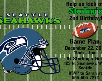 Seattle Seahawks Football Invitation or Thank you card