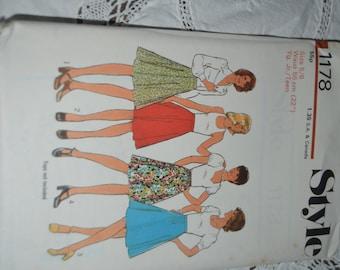 Vintage 70s Style 1178 Junior Teens Set of Skirts Sewing Pattern - UNCUT - Size 5/6 ,Size 7/8 ,Size 9/10 ,Size 11/12 ,Size 13/14 ,Size 15/16