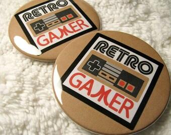 Retro Gamer Pin Back Badge - Old School Gamer Pocket Mirror - Retro Gamer Magnet - Geekery - 8 bit - Gift for Him, Her - Accessory