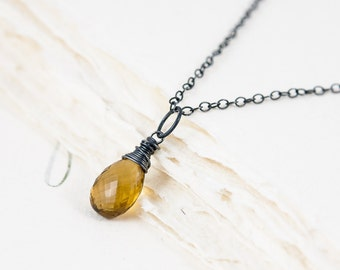 Cognac Quartz and Sterling Silver Necklace, AA+ Grade Wire Wrapped Golden Brown Gemstone Briolette, Oxidised Sterling Silver
