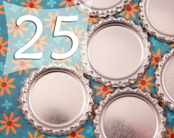 25 mm Circle Flattened Chrome Bottle Cap 1 inch Silver Bottle Caps
