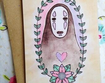 No Face Spirited Away Greetings Card