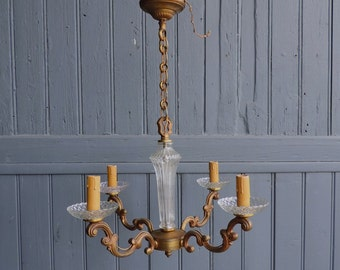 Vintage French bronze and glass four lamp Chandelier, electric ceiling or pendant light
