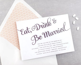 Eat, Drink & Be Married Wedding Invitation Suite - Milford