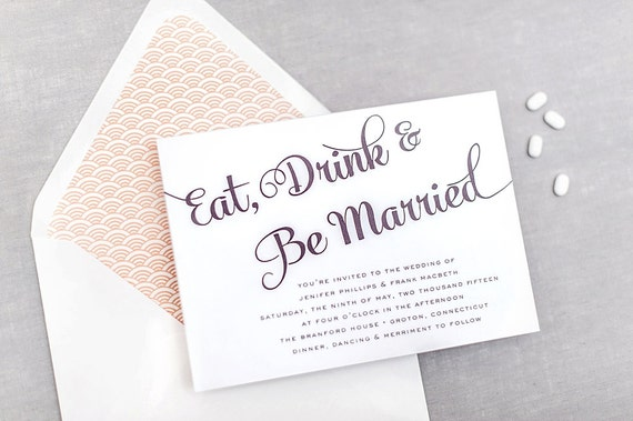 Wedding Invitations Eat Drink And Be Married: Eat Drink & Be Married Wedding Invitation Suite Milford